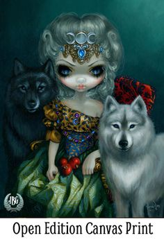 Loup-Garou La Grand Pretresse - the High Priestess - Wolf Tarot 78 Tarot card art - Rococo pop surrealism fantasy art by Jasmine Becket-Griffith wolves