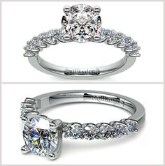 Our U-Prong Diamond Engagement Ring features ten round cut diamonds that are u-prong set, accenting your choice of center diamond.