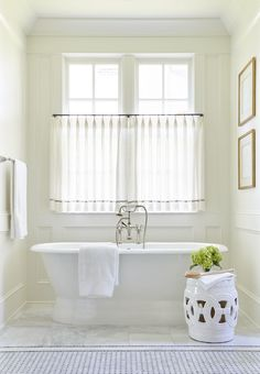 The highlands – sarah bartholomew bath window, bathroom window curtains, bathroom window treatments, Bathroom Window Curtains, Bath Window, Bathroom Window Treatments, Bathroom Windows, Window Blinds, Bath Under Window, Bad Inspiration, Bathroom Inspiration, White Bathroom