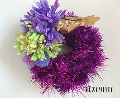 Ghirlanda natalizia Glam Christmas viola fucsia, oro, lilla e giallo : Accessori casa di dezayeppa