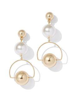 Goldtone & Faux-Pearl Drop Earring - New York & Company Mother Of Pearl Earrings, Pearl And Diamond Earrings, Dangle Earrings, Pearl Necklaces, Bridal Earrings, Flower Earrings, Chandelier Earrings, Vintage Earrings, Pearl Jewelry