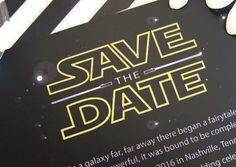 Star Wars Inspired, May the Force be with you, Lightsaber, The Force Awakens Wedding Save the Date Cards (set of 25 cards) by MagicWandWeddings on Etsy https://www.etsy.com/listing/261637899/star-wars-inspired-may-the-force-be-with