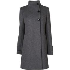 Jaeger Funnel Neck Swing Coat, Mid Grey ($575) ❤ liked on Polyvore