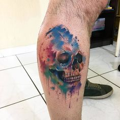 Watercolor Skull Tattoo by Brandon B.