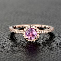 $319 Round Pink Sapphire Engagement Ring Pave Diamond Wedding 14K Rose Gold – Lord of Gem Rings