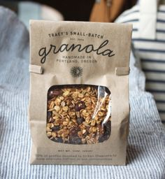 Hey there - Tracy's Small-Batch Granola Cereal Packaging, Bakery Packaging, Cookie Packaging, Food Packaging Design, Brand Packaging, Packaging Ideas, Granola Brands, Food Truck, D Lab
