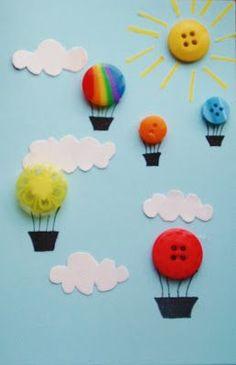 Tapa álbum escolar original. Dibujar el cielo y globos con botones