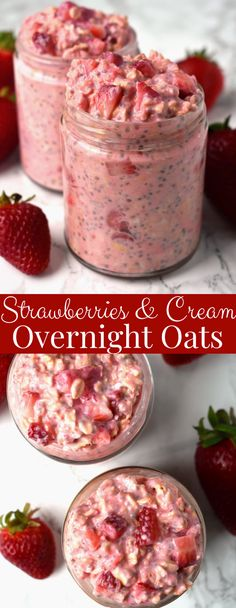 Recipes Snacks On The Go Strawberries and Cream Overnight Oats take just a few minutes to make and are loaded with nutritious ingredients like oats, strawberries, Greek yogurt, chia seeds and milk for a healthy, filling breakfast! Overnight Oats Receita, Overnight Oats With Yogurt, Healthy Overnight Oats, Recipe For Overnight Oats, What Are Overnight Oats, Overnight Oats Protein Powder, Oatmeal Jars Overnight, Chia Seed Overnight Oats, Greek Yogurt Oatmeal