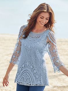 Crochet Shirt - Crochet Lace Tunic - Exquisitely styled with beautiful crocheted patterns for a look that captures your feminine side. Pullover with three-quarter length sleeves in Filet Crochet, Crochet Tunic, Lace Tunic, Tunisian Crochet, Lace Knitting, Crochet Clothes, Crochet Lace, Crochet Tops, Crochet Bodycon Dresses