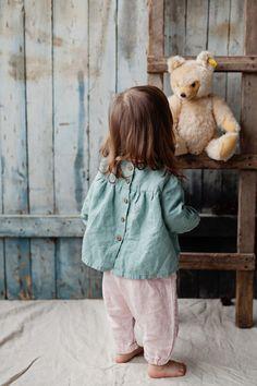 Linen Shirt Peppermint Green Baby Tunic Washed Linen Hand