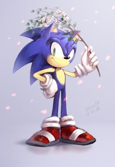 Sonic with flowers