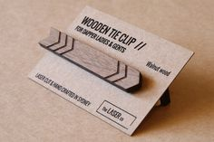 Arrow Timber Tie Clip Wooden Tie Bar Solid Walnut by TheLaserCo
