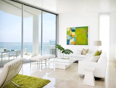 Interior, Contemporary Beach House Interior Design By Jamie Bush & Co.: Home Balcony Equipped With White Chairs And Table Overlooking Blue S. Living Room White, Living Room Interior, Living Rooms, Apartment Interior, Cozy Living, Living Spaces, Design Exterior, Interior And Exterior, Rooms Decoration