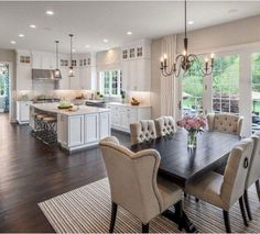 Kitchen Living Room 30 Comfy Dining Room Ideas for Small Space Living Room Kitchen, Home Decor Kitchen, New Kitchen, Home Kitchens, Kitchen Ideas, Dark Floor Living Room, White Kitchen Decor, Decorating Kitchen, Kitchen Layout