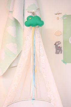 Dromenvanger Wieghanger Wolkje Mint * Cradle Hanger Dreamcatcher Nursery Mint Cloud