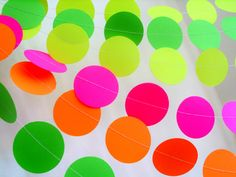 Items similar to Slime party neon paper garland circle garland choose the length dayglow party decor teen tween birthday neon yellow neon pink neon party on Etsy Orange Party, Neon Birthday, Birthday Party For Teens, Glow Party, Disco Party, Day Glow, Party Girlande, Circle Garland, Neon Glow