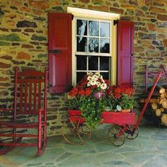So want shutters rocking chair and wheel