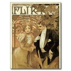 Vintage Love Romance, Art Nouveau, Alphonse Mucha Post Card