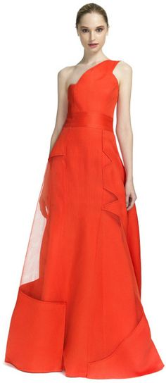 CAROLINA HERRERA Organic Gazaar One Shoulder Gown with Tulle Detailing