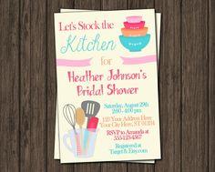 Kitchen Bridal Shower Invitation - Stock the Kitchen Bridal Shower Invitations by PuggyPrints on Etsy