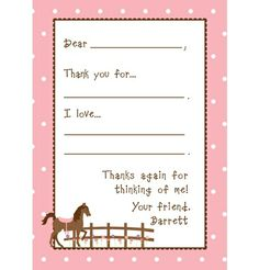 fill-in-the-blank horse thank you card from www.murchisondrygoods.com  Custom banners, personalized stationery, gift tags and more...Murchison Dry Goods Co.