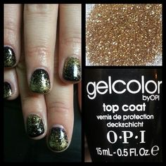 Black shellac with gold glitter fade. Instagram: @boop711