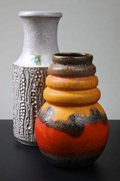 Scheurich 'Wien' series and Carstens Keramik 'Luxus' range 'Fat Lava / Pop Art style vases, West Germany circa 1970