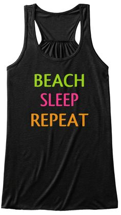 Beach Sleep Repeat Black T-Shirt Front