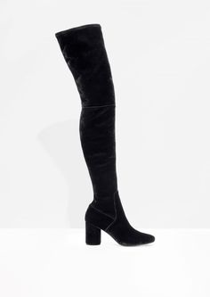& Other Stories image 1 of Velvet Over The Knee Boots in Black Knee High Boots, Over The Knee Boots, Black Boots, Bag Accessories, Thighs, Cool Outfits, Footwear, Velvet, Heels