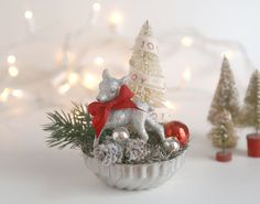 Vintage Style Christmas Decoration, Silver Deer, Bottle Brush Tree, Vintage Tart Tin, Red Bow and Ornament, Vintage Inspired Christmas Decor by TheHeirloomShoppe on Etsy https://www.etsy.com/listing/244229447/vintage-style-christmas-decoration