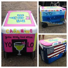 I had no idea this was a fad! In Jekyll  a group of college kids were down for a wedding and they all painted matching coolers! I asked a girl about it and she said they repaint the coolers for every big occasion (big football games, trips, holidays). Super fun!!!