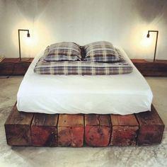 Sleepers, bed, handmade, dark wood, industrial, low.
