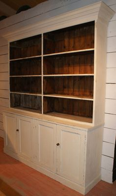 Early 19th C antique painted pine bookcase. Originally from a solicitors. 1830