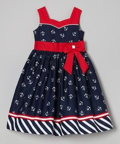 Jayne Copeland Navy & Red Bow Sash Anchor Dress - Toddler & Girls by Toddler Girl Dresses, Toddler Outfits, Kids Outfits, Toddler Girls, Little Girl Dresses, Girls Dresses, Anchor Dress, Kind Mode, Baby Dress