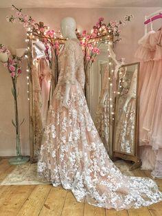 Blush embroidered tulle cherry blossom wedding dress by Joanne Fleming Design Unique Prom Dresses, Stunning Dresses, Bridesmaid Dresses, Bridal Gowns, Wedding Gowns, Whistles Dresses, Cherry Blossom Wedding, Fantasy Dress, Kimono Dress