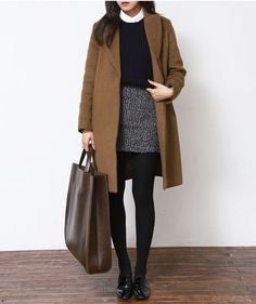 /roressclothes/ closet ideas fashion outfit style apparel Camel Coat and Black Basic Skirt with tights winter work wear Stylish Winter Outfits, Outfits Casual, Style Casual, Petite Outfits, Mode Outfits, Office Outfits, Fashion Outfits, Office Wear, Skirt Outfits