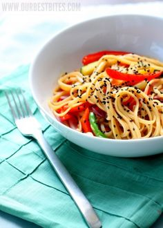 Easy noodle stirfry. Steamables, red pepper and noodles with a little olive oil.