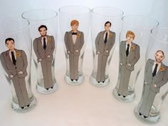 Hand Painted Groom, Groomsmen Personalized Pilsner Glasses (6 glasses) -Custom Caricatures-Unique Bridal Party Gift