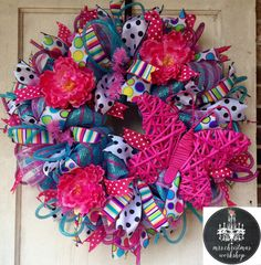 Peony deco mesh wreath hot pink blue and by MrsChristmasWorkshop