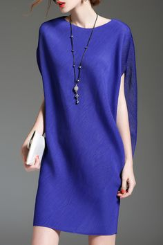 Batwing Sleeve Mini Shift Dress - BLUE ONE SIZE(FIT SIZE XS TO M)