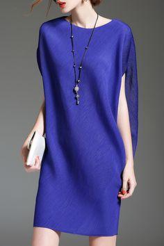 Batwing Sleeve Mini Shift Dress - BLUE ONE SIZE(FIT SIZE XS TO M)
