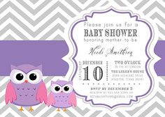 PRINTABLE Gray and Purple Chevron Baby Owls Baby Shower Invitation