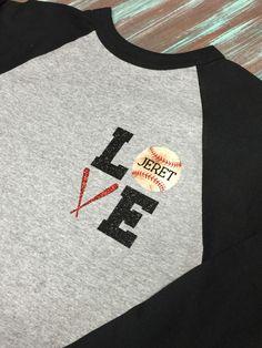 Love Vintage Baseball Shirt by TwoLittleHootsDesign on Etsy