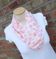 Pink Scarf, Orange and Pink, Floral Scarf, Lightweight Scarf, Gifts for Her Christmas, Gifts Under 25, Fashion Scarves, Womens Scarves by foreverandrea on Etsy