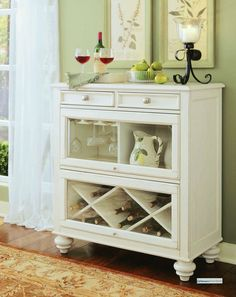buffet idea, wine rack bottom with two doors in the middle for glasses and plates