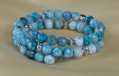 Turquoise Teal Blue Fire Agate Memory Wire by CharmedImagination
