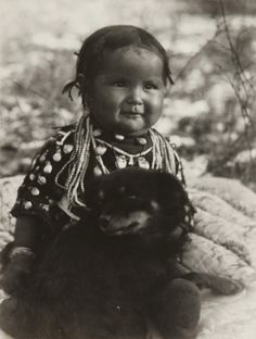 Native American Child with Dog, by Richard Throssel, ca.1910
