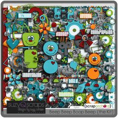 digital scrapbooking kit - robot theme