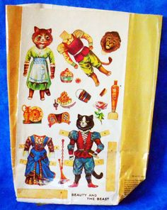 Gift bag Paper Dolls Alladin,Princess & Magician / Beauty & the Beast Vintage A1 #Unknown #AnyOccasion