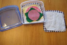 Make a Sandwich... felt or fabric pieces in a sandwich container.